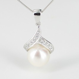 White Pearl & Diamond Pendant Necklace 8.5-9mm 9K White Gold