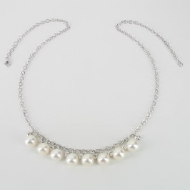 White Pearl & Topaz Necklace 925 Silver