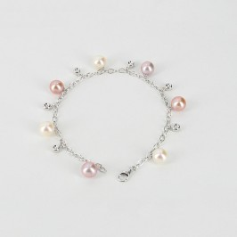 Multicolour Pearl & Diamond Bracelet 7.5-8mm 14K White Gold