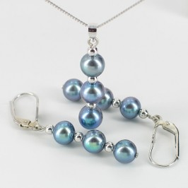 Black Freshwater Pearl Pendant & Earrings Set 6.5-7.5mm On Sterling Silver