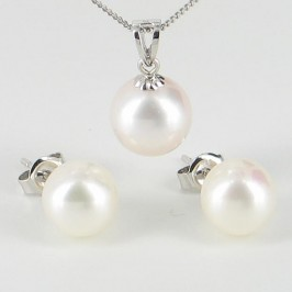 White Pearl Pendant & Earrings Set AAA 8-9mm 9K White Gold