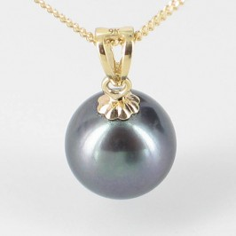 Black Round Pearl Pendant Necklace On 9K Yellow Gold