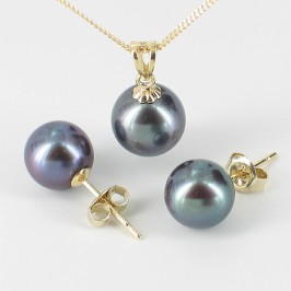 Black 8-9mm AAA Pearl Pendant Necklace & Earrings Set On 9K Yellow Gold