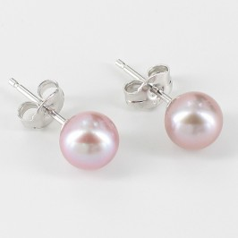 Lilac Pearl Stud Earrings AAA 7-7.5mm On Sterling Silver