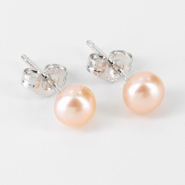 Pink Button Stud Pearl Earrings 5.5-6mm On Sterling Silver