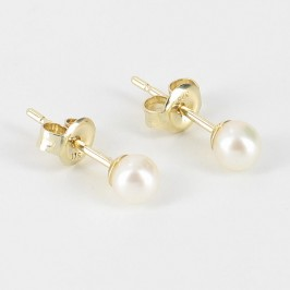 Tiny Pearl Earrings Studs 4-4.5mm On 9K Yellow Gold