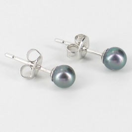 Tiny Black Stud Pearl Earrings 4-4.5mm On 9K White Gold