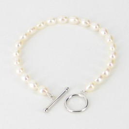 Freshwater Oval Pearl Bracelet 6-6.5mm With Sterling Silver