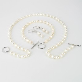 White Pearl Triple Set Oval With Sterling Silver