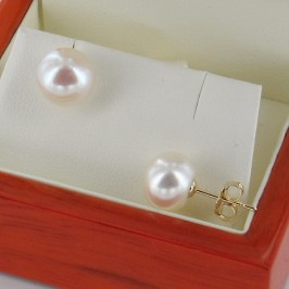White Pearl Earrings, 9-9.5mm Button Pearls On 18K Gold