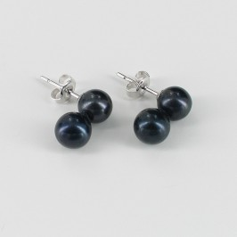 Black Round Double Pearl Stud Earrings 6.5-7mm On 9K White Gold