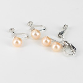 Non-Pierced Screw Or Clip-On Pink Pearl Earrings 7-7.5mm on Sterling Silver