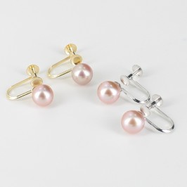 Non-Pierced Lilac Pearl Screw Earrings 7-7.5mm On 9K Yellow Gold