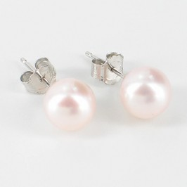 Classic Akoya Pearl Studs AAA 7-7.5mm On 14K White Gold
