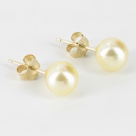 Golden Akoya Saltwater Pearl Earrings 6.5-7mm On 9K Yellow Gold