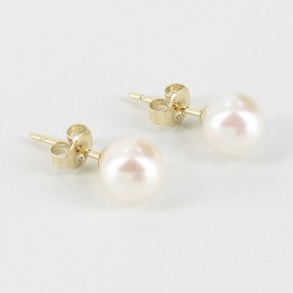 White Akoya Pearl Earring Studs 6.5-7mm On 9K Yellow Gold