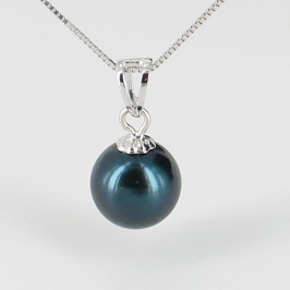 Black Akoya Pearl Pendant Necklace AAA 7.5-8mm On 18K White Gold