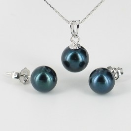 Black Akoya Saltwater AAA Pearl Pendant Set 7-8mm On 18K White Gold