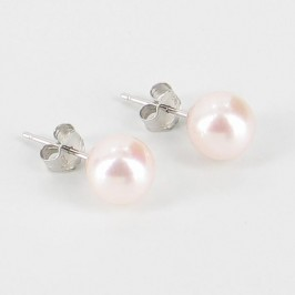 Akoya Pearl Stud Earrings AAA 7-7.5mm On 18K White Gold
