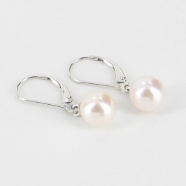 Akoya Pearl Leverback Earrings AAA 7.5-8mm On 14K White Gold