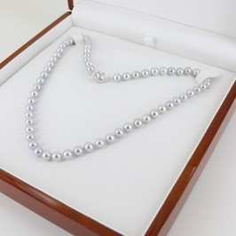 Grey Akoya 6.5-7mm Pearl Necklace With 18K White Gold