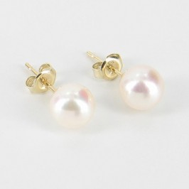 White Akoya Pearl Stud Earrings 7.5-8mm On 9K Yellow Gold