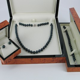 Black Beauty Chinese Akoya Pearl Necklace Set With 14K White Gold