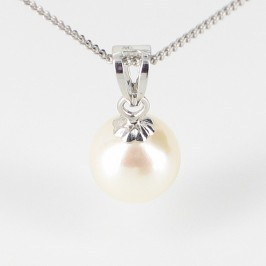 White Akoya Pearl Pendant Necklace 7-7.5mm On 9K White Gold