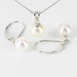 White Chinese Akoya Saltwater Pearl Pendant Set 7-7.5mm 9K White Gold