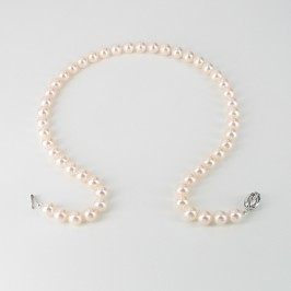 "Chairwoman Akoya Pearl Necklace 20"" AAA 8-8.5mm With 14K White Gold"