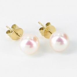 Akoya Pearl Stud Earrings 7.5-8mm On 18K Yellow Gold