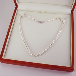 Japanese Akoya Pearl Necklace 6-6.5mm With 14K White Gold