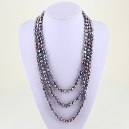 Two Metre Shanghai Style Long Multicolour 8-9mm Baroque Pearl Necklace