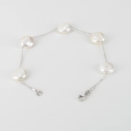 Coin Pearl Silver Chain Bracelet 11-11.5mm On Sterling Silver
