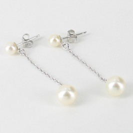 Round Double Pearl Silver Chain Drop Earrings 4.5-7.5mm On Sterling Silver