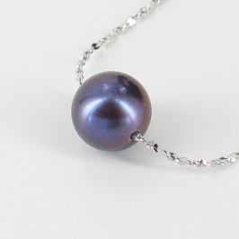 Black Round Pearl Pendant Chain Necklace On Sterling Silver