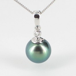 Tahitian Pearl & Diamond Pendant Necklace 9.5-10mm 9K White Gold
