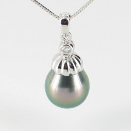Modern Tahitian Drop Pearl & Diamond Pendant Necklace 9-10mm On 9K White Gold