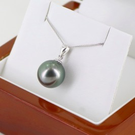 Round Tahitian 11-12mm Pearl Pendant Necklace On 18K White Gold