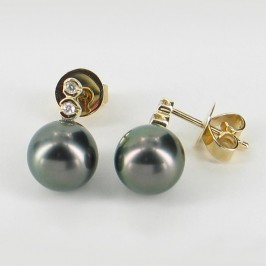 Black Tahitian Pearl & Diamond Earrings 8-9mm On 9K Yellow Gold
