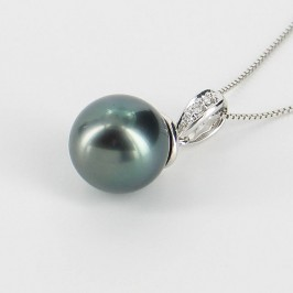 Tahitian Pearl & Diamond Pendant Necklace 9-10mm On 9K White Gold
