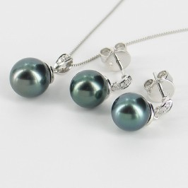 Tahitian Pearl & Diamond Pendant Set 8-10mm On 9K White Gold