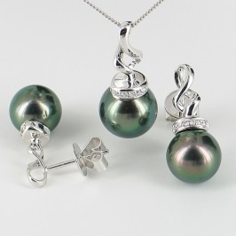 Tahitian Pearl & Diamond Pendant Necklace Set 9-11mm 9K White Gold