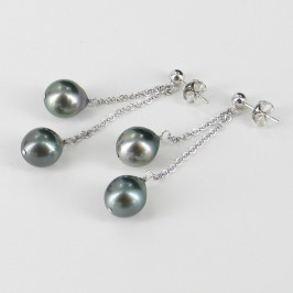 Tahitian Semi-Baroque Double Pearl Drop Earrings 9.5-10mm On Sterling Silver Chains