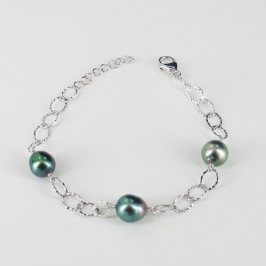 Tahitian Baroque Pearl Bracelet On Sterling Silver Chain