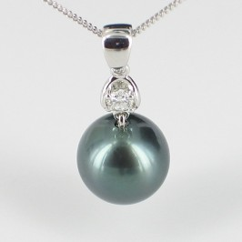 Tahitian Pearl & Diamond Pendant Necklace 9-10mm On 18K Gold