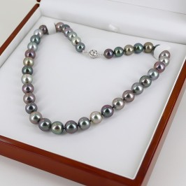 Multicolour Graduated Tahitian 10-12mm Pearl Necklace 18K White Gold Clasp