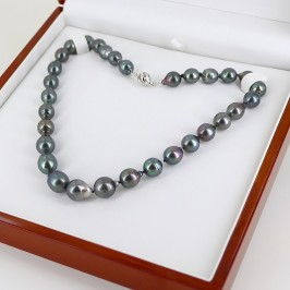 Multicolour Graduated Tahitian Baroque 10-12mm Pearl Necklace 18K White Gold