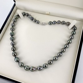 Graduated Tahitian Baroque 8-10mm Pearl Necklace 14K White Gold Clasp