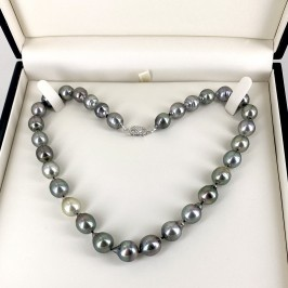 Multicolour Graduated Tahitian Baroque 10-12mm Pearl Necklace 14K White Gold Clasp